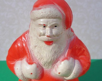 SANTA CLAUS Candy Container, Celluloid Plastic, Irwin, 1940's, Vintage Christmas Decor