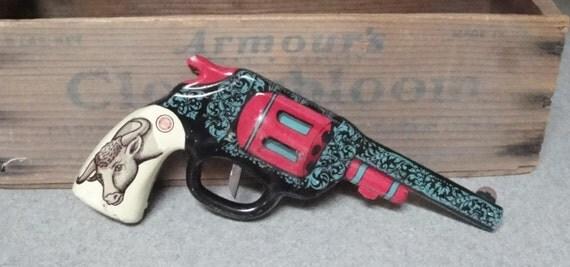 Reserved for Sheri - TOY WESTERN GUN, Tin Litho, Rare 1940s Ohio Art, Vintage Toy
