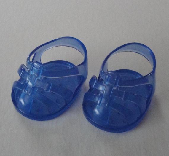 CABBAGE PATCH DOLL Shoe, Blue Vinyl Sandals, Vintage Doll