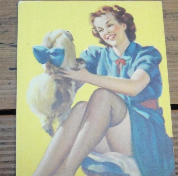 """MUTOSCOPE CARD, Pin-Up, 1940s, Gil Elvgren, """" A Peek-A'-Knees"""""""