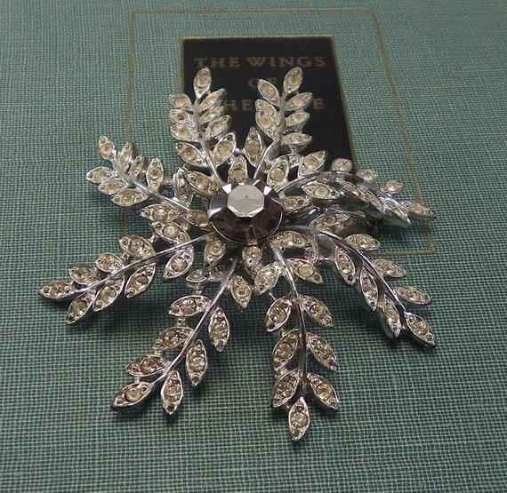 "RHINESTONE BROOCH,  ""Evening Snowflake"", Vintage Sarah Coventry Costume Jewelry"