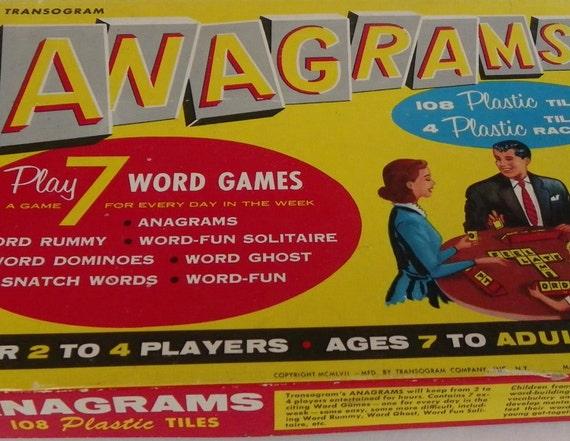 Reserved for Barb-Tiles Only ANAGRAMS BOARD GAME, Transogram Co., 1957, Plastic Letter Tiles, Vintage Game