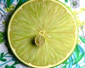 "Lime Slice Lazy Susan, 15"" Wood Turntable Centerpiece"