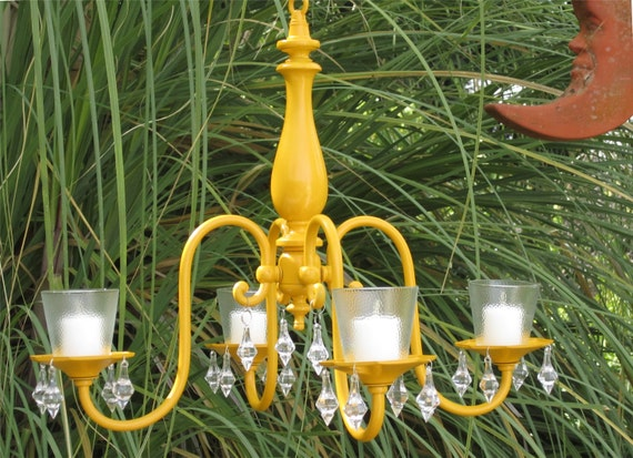 Chandelier Candle Holder 4 Arm  Marigold Yellow