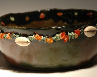 Handmade Ceramic Bowl with shells and stones