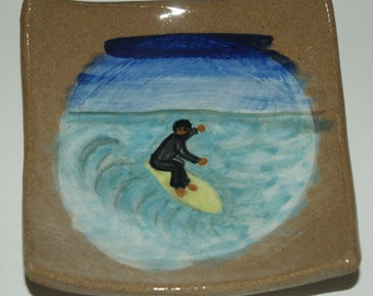 Surfer Surfing Plate