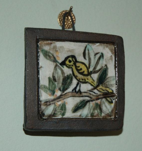 Mini Bird Tile Painting / Paper Weight