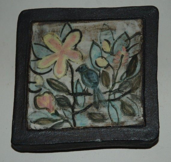 Reserved for Jeff - Bird and flowers tile