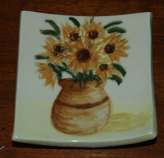 Yellow Sunflowers Soap Dish / Plate