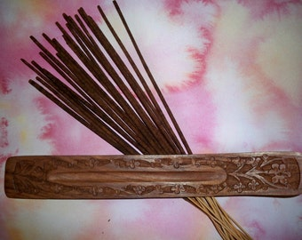 20 Hand Dipped Frankincense Incense Sticks and Carved Wood Holder