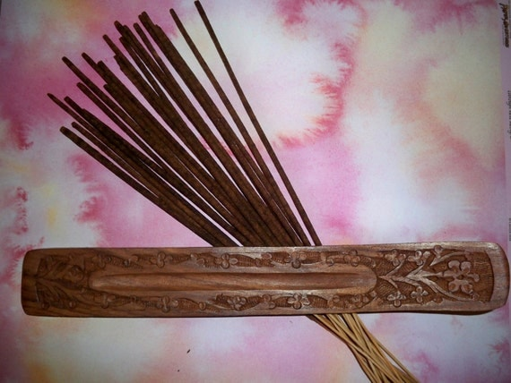 20 Hand Dipped Lavender Incense Sticks and Carved Wood Holder
