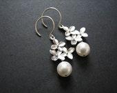 Cherry blossom flower pearl earrings -sterling  wedding jewelry, bridesmaids gifts, hydrangea, simple flower earrings