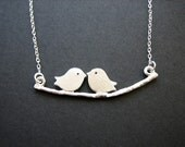 Kissing birds necklace sterling silver chain - birthday, anniversary, romanic gift, mothers, family necklace, wedding jewelry