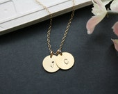 Initial necklace - duo disk gold necklace, gold filled chain, personalize, love, friendship, wedding jewelry gift, Mothers day gifts,