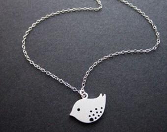 Silver love bird necklace