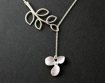 Leaf branch and orchid lariat neclace - sterling silver chain, leaf necklace, orchid necklace, silver jewelry, wedding gifts, everyday wear