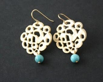 Unique flower disc earrings