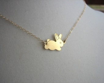 Brass bunny rabbit necklace - Gold Filled