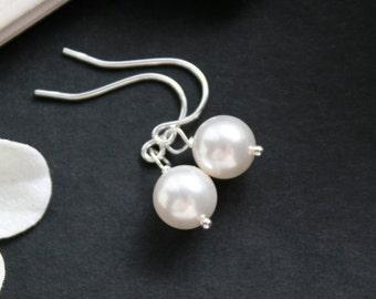 Simple pearl earrings - sterling silver - wedding jewelry, bridal jewelry, bridal gift favor, pearl jewelry, simple dainty earrings