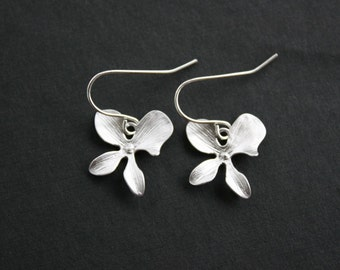 Orchid earrings, silver - wedding jewelry, bridesmaids gifts, simple everyday wear, silver necklace jewelry
