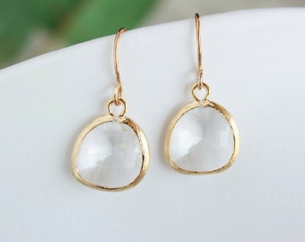 Mothers day gifts, Clear glass stone in gold brushed bezel earrings, bridesmaid gifts, wedding jewelry gift, stone in bezel