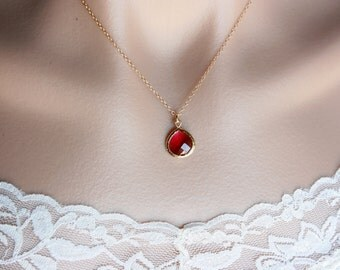 Ruby red necklace, glass stone in bezel, gold filled - simple gold necklace, dainty stone jewelry, wedding jewelry