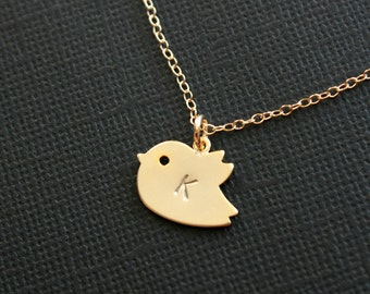 Initial bird necklace, baby bird gold necklace, gold filled - simple dainty, family, friendship, couple, new baby show gift necklace