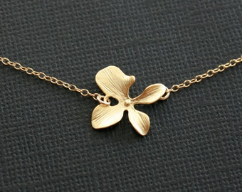 Gold orchid necklace single flower for everyday wear layering and wedding jewelry gift, simple flower necklace with 14K gold filled chain