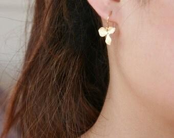 Orchid flower earrings, gold filled, orchid earrings - wedding jewelry, bridesmaids gifts, flower girl earrings, simple dainty earrings