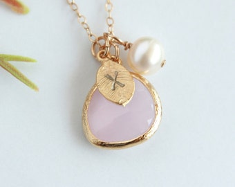 Gold personalized glass stone initial necklace with pearl and initial leaf charm necklace, custom monogram charm, bridal jewelry mother