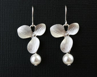 Silver orchid earrings, pearl earrings - sterling silver - wedding jewelry, bridal jewelry, bridesmaids gifts, birthday gift, mothers