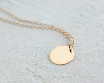 Disc circle necklace, gold charm necklace, gold filled chain - simple, dainty, layering necklace, everyday wear