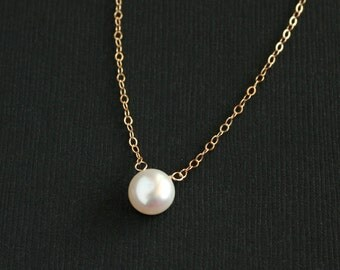 Pearl necklace, gold filled - simple dainty gold necklace, wedding jewelry, bridesmaids gifts, white freshwater pearl, pearl jewelry