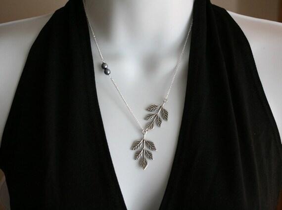 Fallen antique silver leaf necklace