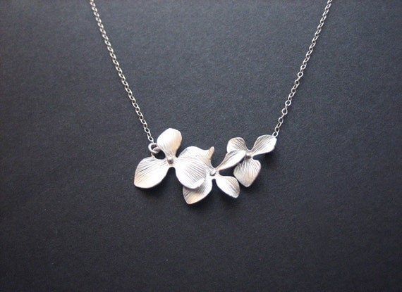 Wedding jewelry, Triple orchid necklace - bridesmaid gifts, bridal jewelry, silver orchid jewelry, orchid necklace, dainty necklace