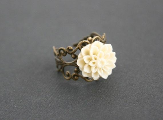 Creamy dahlia victorian flower ring - brass filigree adjustable ring - wedding jewelry, bridesmaids gifts, flower girl, birthday gift