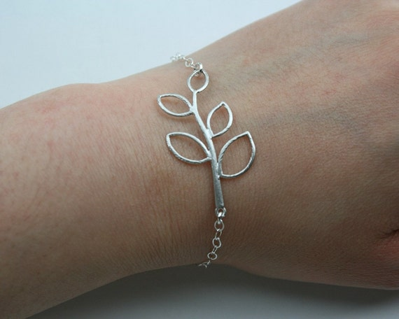 Leaf branch bracelet sterling silver chain simple silver