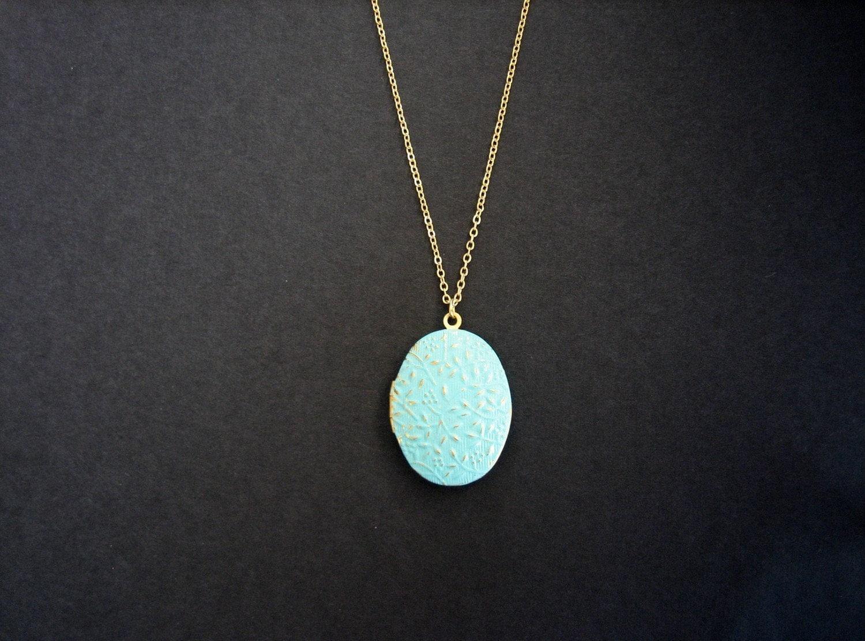 teal locket necklace gold chain flower photo locket teal. Black Bedroom Furniture Sets. Home Design Ideas
