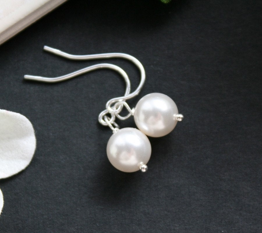 Simple pearl earrings sterling silver wedding jewelry