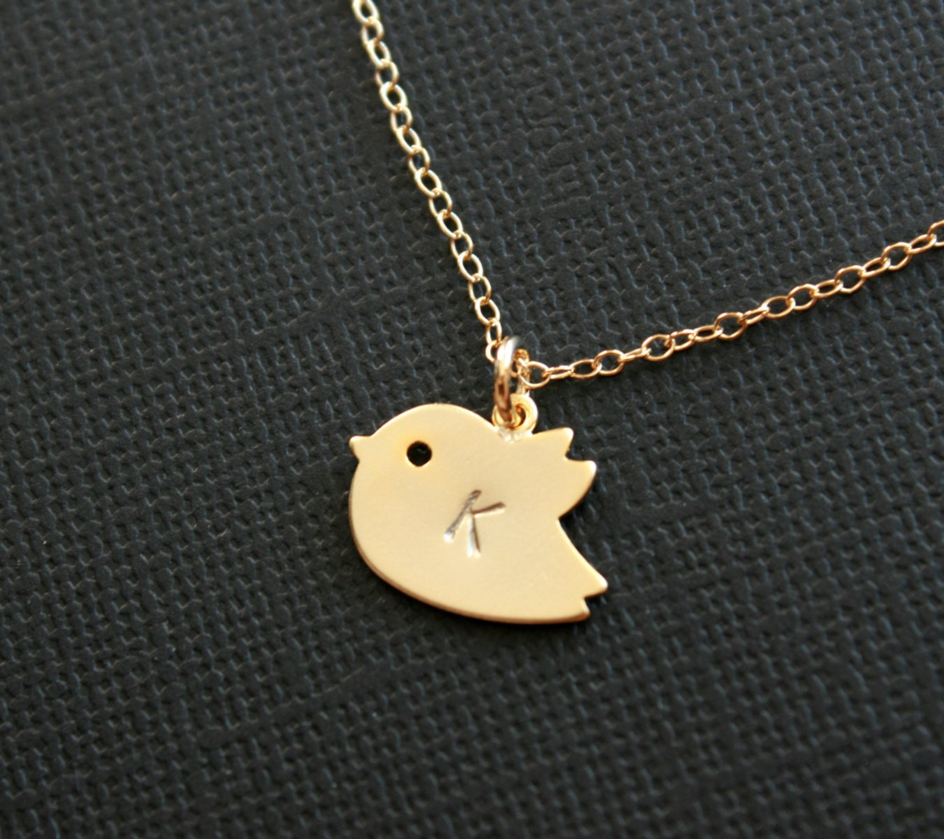 initial bird necklace baby bird gold necklace gold filled
