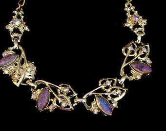 VINTAGE 1950s -  Iridescent Glass beads and Rhinestones choker
