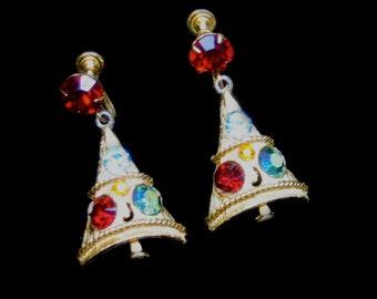 Vintage 50s - Christmas Tree Rhinestones Screw Back Earrings