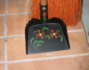 Tole Fireplace Broom and Shovel