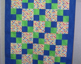Bright Blue & Green Primary Numbers Crib Quilt