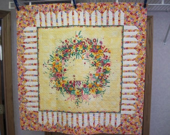 Yellow Floral Wreath Wall Hanging