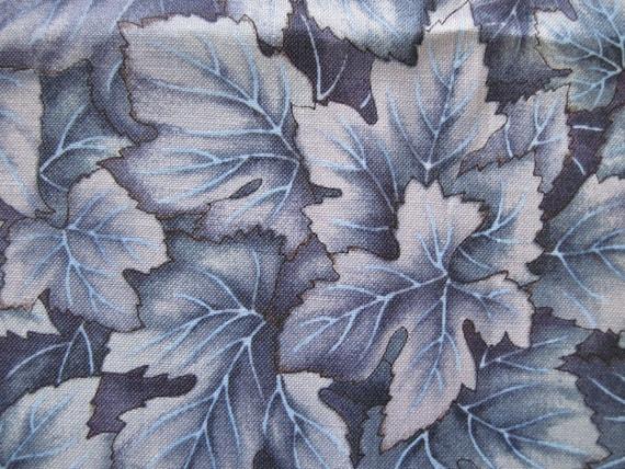 Gray Blue Leaf Fabric
