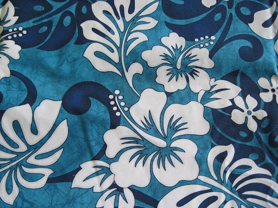 Blue White And Turquoise Hawaiian Print Fabric
