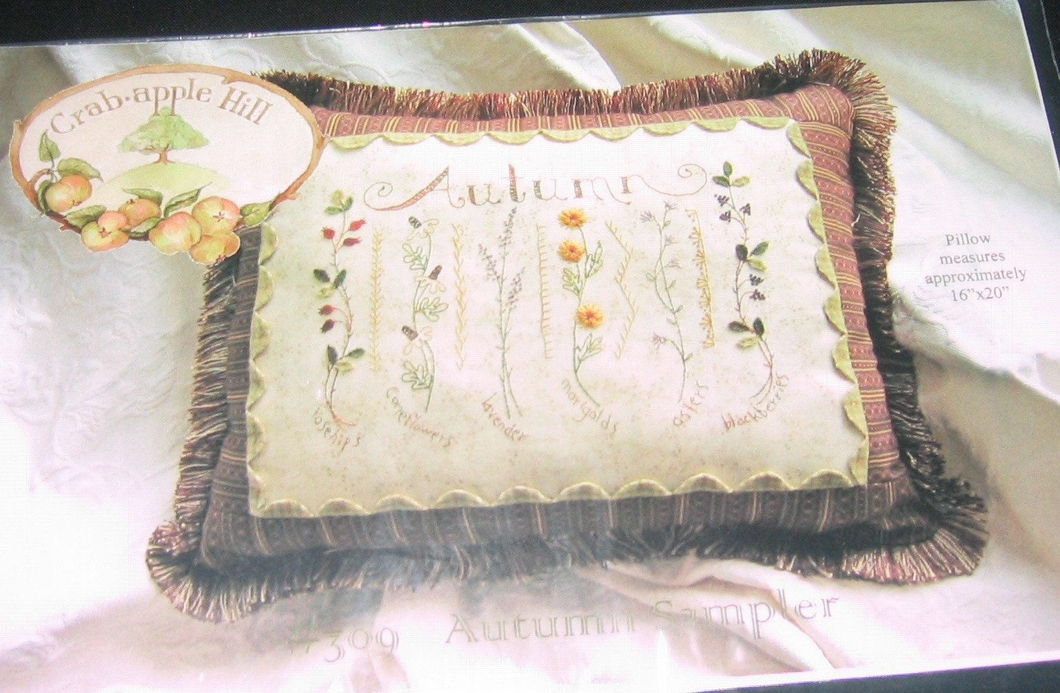 Autumn sampler hand embroidery pillow pattern by crab apple