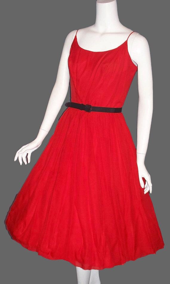Vintage 1950s Rockabilly Swing Chiffon Party Dress Cupcake Small Medium