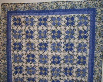 Garden dream quilt made with 9 patch square,bed cover,summer flower,traditional,unique quilt ,blue fabric